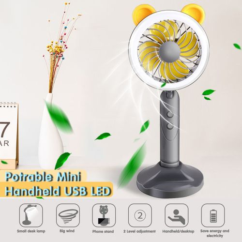 Potrable Mini USB Desk Fan With Filling Light Phone Holder Home