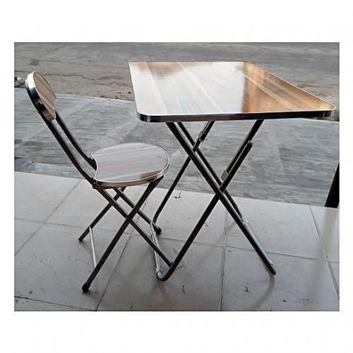 Foldable Reading/ Laptop Table And Chair(Wood & Metal)