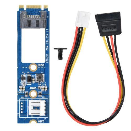 M2 TO SATA M.2 NGFF SATA To 7Pin SATA Horizontal Converter Adapter Card+4Pin Power Cable