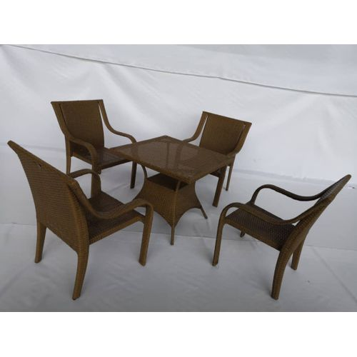 Iron Frame Rattan Material Chair Set With Table