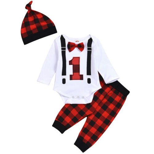 Baby Boy Girl Newborn First Christmas Bow Long Sleeve Romper Pant Hat Outfit Set