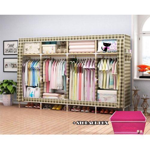 Mobile Wooden Wardrobe + Storage Box- L-205cm,B-45cm,H-170cm