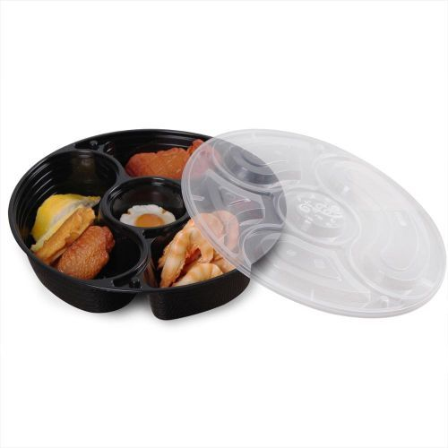 50pcs Food Prep Containers In 5 Compartments With Spoon