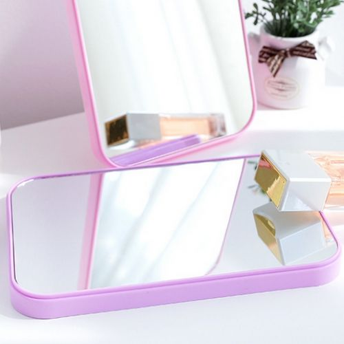 Folding Table Mirror Dressing Mirror Portable Makeup Portable Mirror Purple