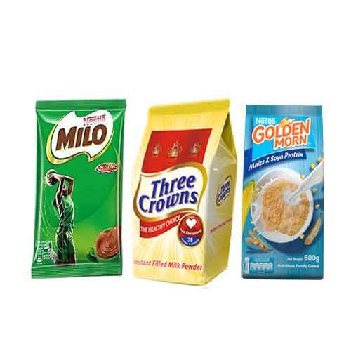 Milo 500g And Three Crown 350g Refill And Golden Morn 500g