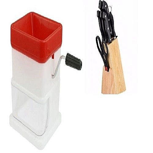 8 Pcs Kitchen Knives Set With Holder And Manual Grater