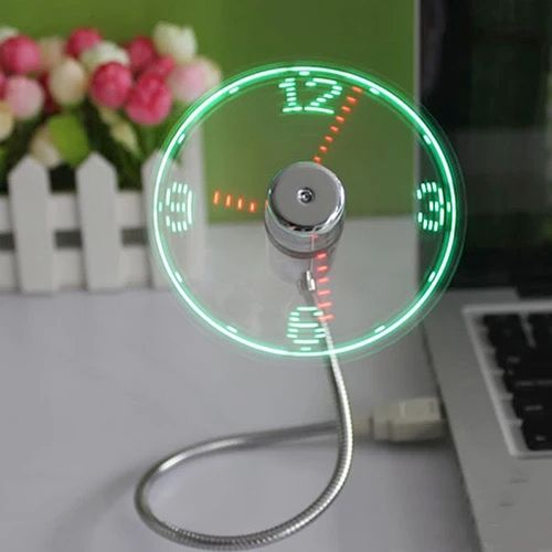 USB Luminous Fan LED True Clock Fan Mini Creative Small Blower Smart Home Appliances