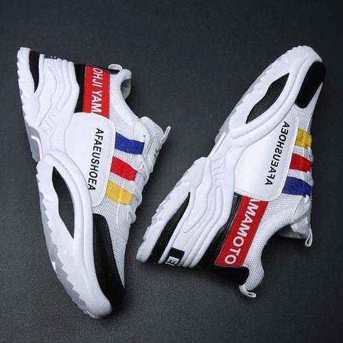 Men Casual Sports Shoes Lace Up Sneakers-WhiteBlack