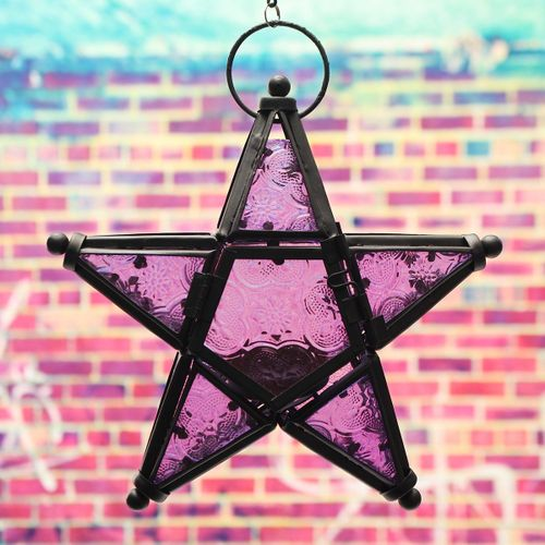 Moroccan Star Home Garden Lamps Large Hanging Light Candle Holders Lanterns Purple