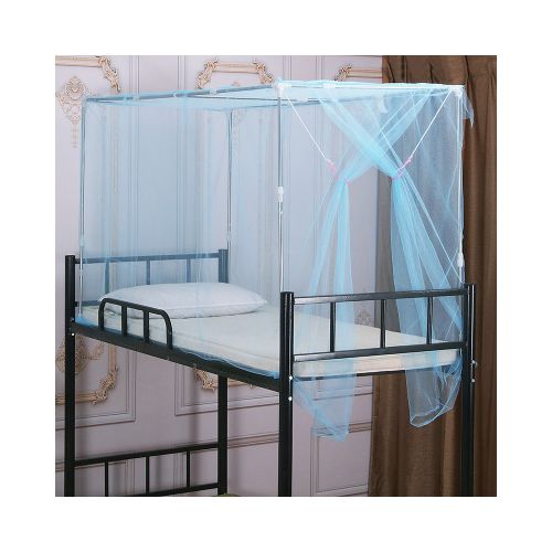 Blue Single Bed Student Mosquito Net With Side Opening
