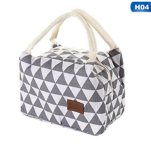 Eleganya Women Fashion Creativity Triangle Printing Simple Waterproof Insulation Lunch Bags H04