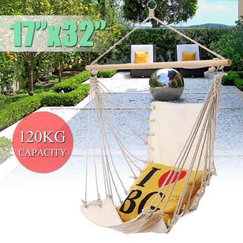 32''x17'' Hanging Hammock Chair Swing Outdoor Indoor Camping Garden White Canvas