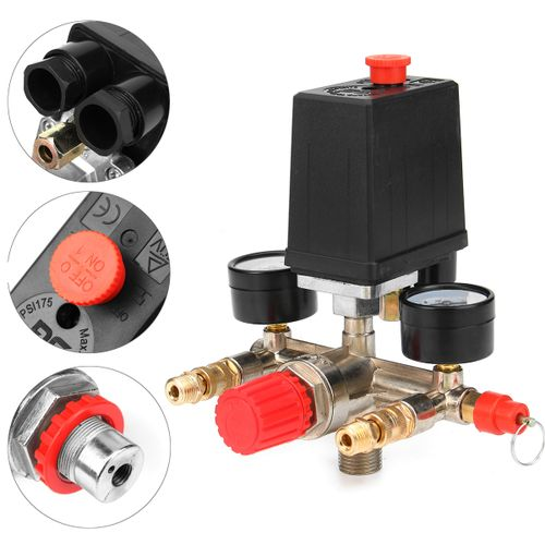 90-120PSI Air Compressor Pressure Switch Control Valve Manifold Regulator