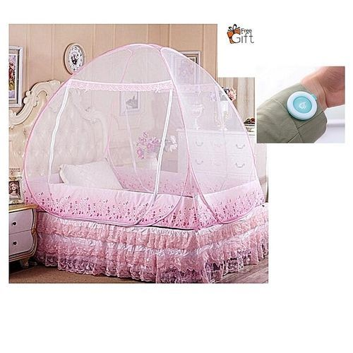 Foldable Mosquito Net Tent 6ftx6ft With Free Mosquito Repellent Clip