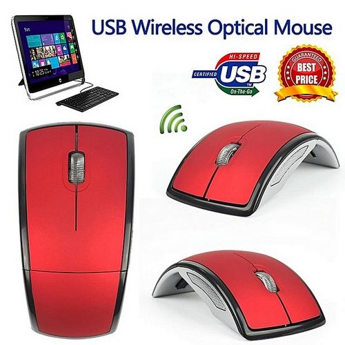 Foldable Wireless Arc Optical Mouse With Mini USB Receiver ForComputer- Red