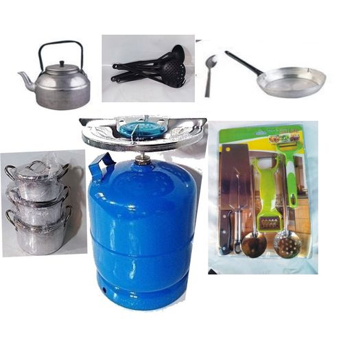 Economy Kitchen Bundle- 3 Set Pots, 1 Kettle, 1 Frying Pan, 1 Set Non-stick Frying Spoon, 1 Small Knife Set, 1 Set Of Table Spoon And 3kg Gas Cylinder
