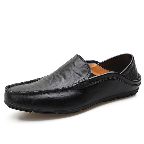 Mens Fashion Loafers Comfortable Slip On Casual Shoes-Black