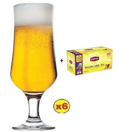 TULIPE BEER GLASS 385ML - 6PCS