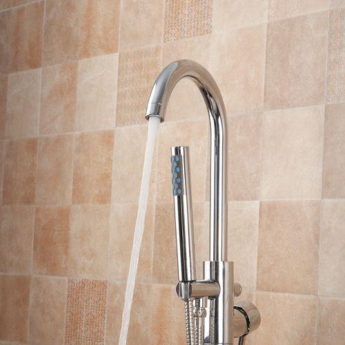 Standing Bathtub Hand Held Shower Head Floor-Mount Chrome