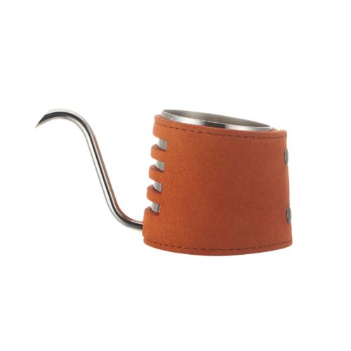 Long Mouth Leather Handle Coffee Pot-orange