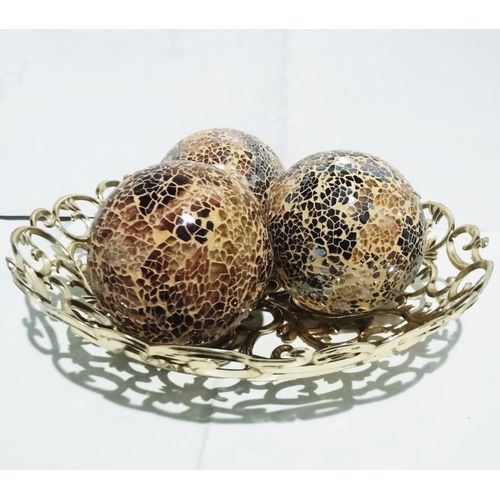 Center Table Decorative Bowl With 3 Balls - Golden Brown