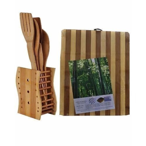 Bamboo Chopping Board And Spoon Set