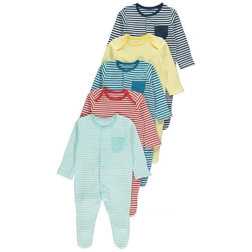Striped Sleepsuits - 5 Pack