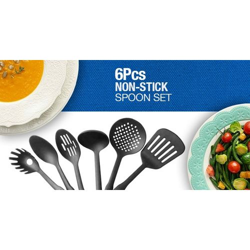 Non Stick Cooking Spoon Cookware - Set Of 6 - Black