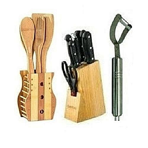 Sets Of Knifes+wooden Kitchen Utensil Set+ Peeler