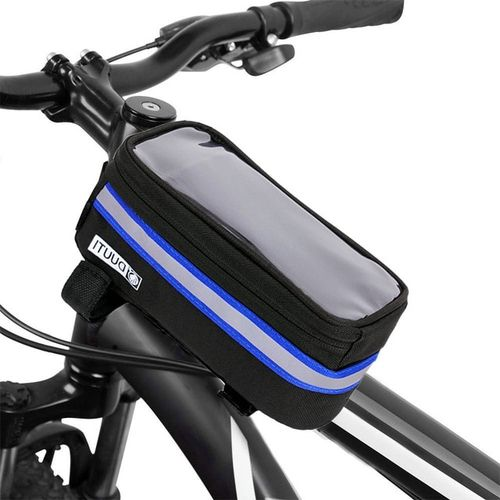 Cycling Bicycle Bike Head Tube Handlebar Cell Mobile Phone Bag Case Holder Bicycle Panniers Frame Case Pannier For 6.5 IPhone(S)(#Blue)
