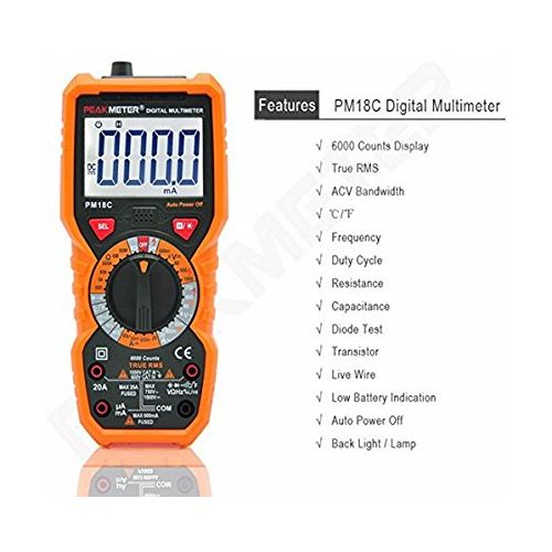 PM18C Digital Multimeter DC AC Multimeter Voltage Current Tester 6000 Counts With True RMS And NCV Detection.