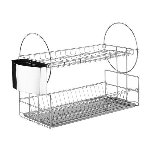2 Tiers Stainless Steel Dish Rack Dish Drainer Utensil