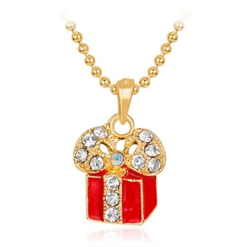 Christnas Gift Box Pendant Metal Necklace Decor Jewelry For Women