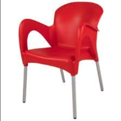Plastic Chair With Arms & Iron Legs