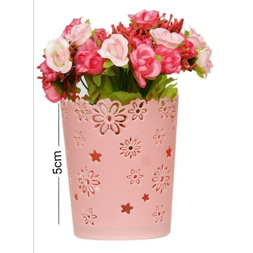 Artificial Pink Flowers With Small Plastic Vase