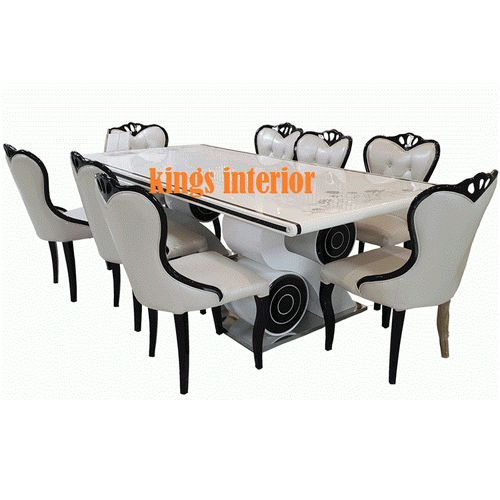 White 8 Seater Marble Dining Set