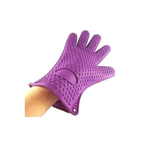 Kitchen Heat Resistant Glove Pot Holder Baking BBQ Cooking Oven Mitt Purple