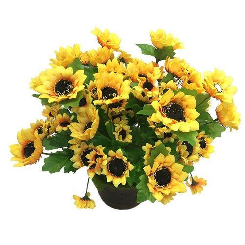 14 Head Sunflower Artificial Silk Flower Bouquet Home Wedding Table Decor