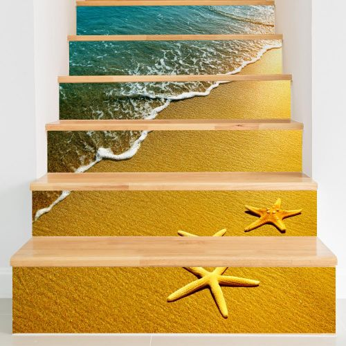 Miico 6Pcs Beach Pattern Creative Stair Sticker Home Decor Mural Art Removable Wall Decals