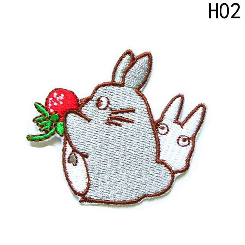 Benhongszy 2Pcs/2Sets Totoro Embroidered Iron On Patch DIY Embroidery Handmade Crochet Sew On Patch Clothes Appliques