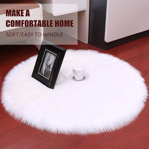 Fur Area Rugs Plain Fluffy Round Pad Carpet Hairy Bedroom Carpet Mat Cover DIY