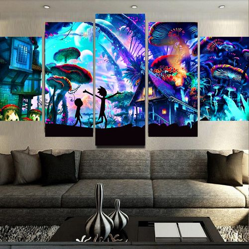 Modern Canvas Framework Hd Printed Living Room 5 Panel Rick And Morty Painting Wall Art Modular Poster Home Decor Pictures
