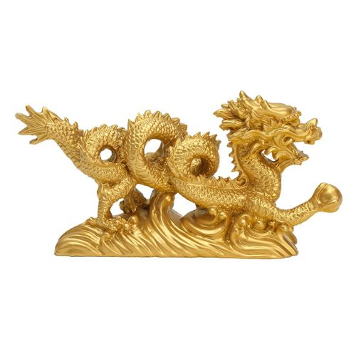 """NEW GOLD Chinese Feng Shui Dragon Figurine Statue For Luck & Success 6"""" LONG"""