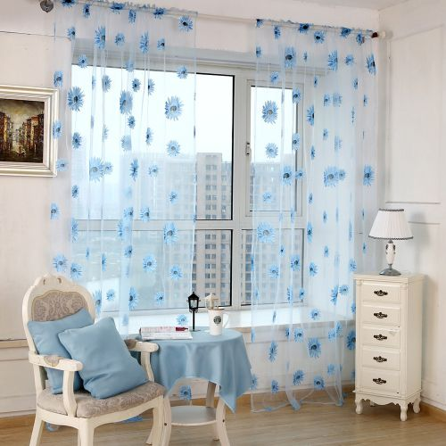 Watermalend Top Quality Luxurious Sun Flower Transparent Balcony Curtains BU A