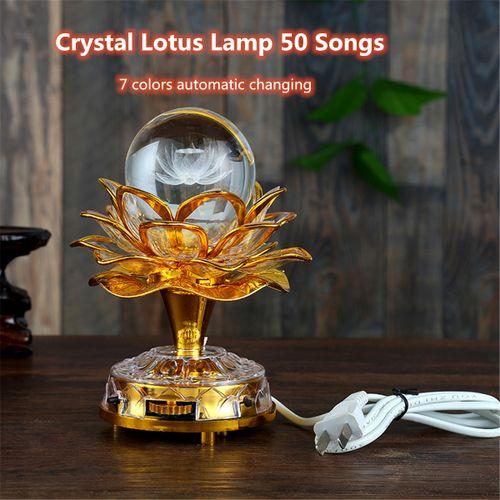 50 Buddhism Song 7 Colors Changing LED Light Lotus Buddha Music Machine Lamp