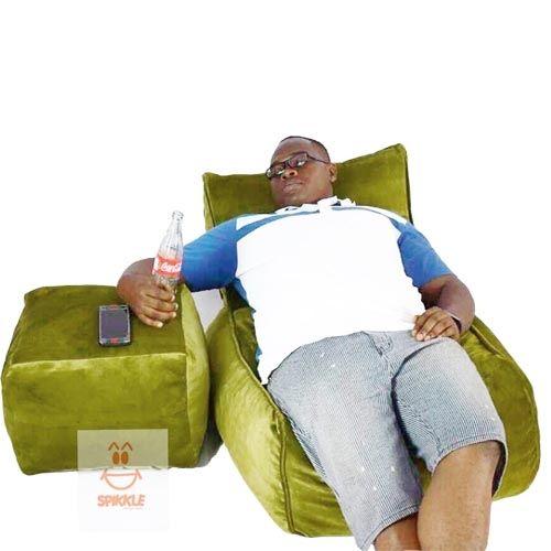 Spikkle Beanbag Lounger Chair & Leg Rest & 1 Luxury Fur Pillow - Green