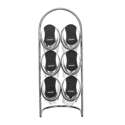 Spice Storage Rack Stand Holder & 6 Bottles Kitchen Seasoning Organizer Shelf