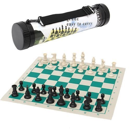 Portable Tournament Chess Game Gifts Plastic Pieces Green