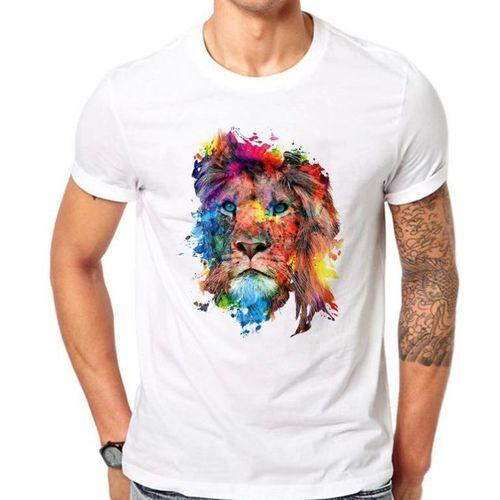 Men's White T-shirt Animal Pattern - White