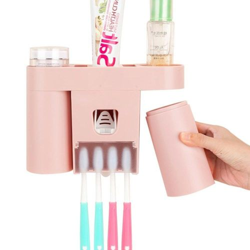 Pink Creative Toothbrush Holder Automatic Squeezer Suction Wall Toothbrush Holder Mouth Rinse Cup Toothpaste Rack